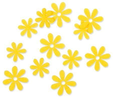 Filzsortiment Blüten Gelb / Lemon 2,2 - 2,8cm 2 Motive 72er-Set -Gartentisch dekorieren