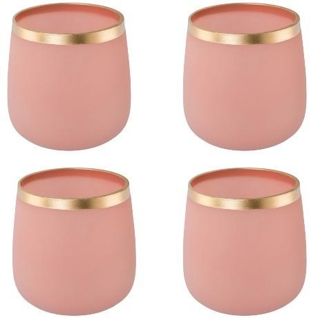 Glas Teelicht Apricot 8x8,5cm 4er Set