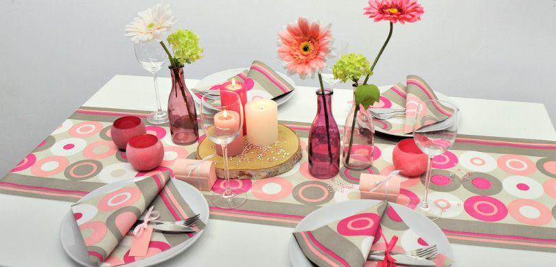 Tischdekoration Crazy Dots Pink - Gartentisch dekorieren mit Eiscremefarben