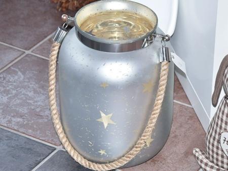 Windlicht Laterne mit Sternen Glas satiniert Champagne 33cm