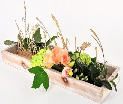 Exclusives Dekotablett mit Seidenblumen 36x12cm - Schöne Naturdeko