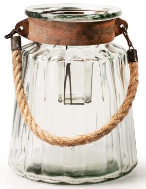 Glaswindlicht mit trendigem Griff aus Kordel H22 D17cm
