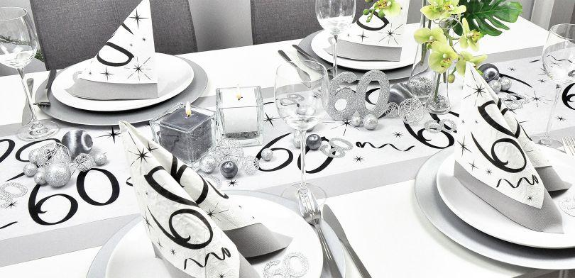 Tischdekoration zum 60. Geburtstag in edlem Aluminium und Silber