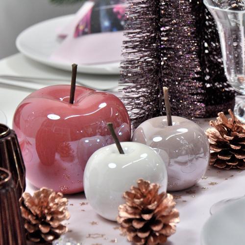 Keramik-Apfel Pearl-Effekt 12x9,5cm Dunkelrosa - Schöne Herbsttischdeko