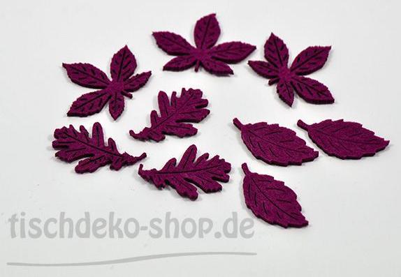Blätter Filz 3 fach sort. Aubergine