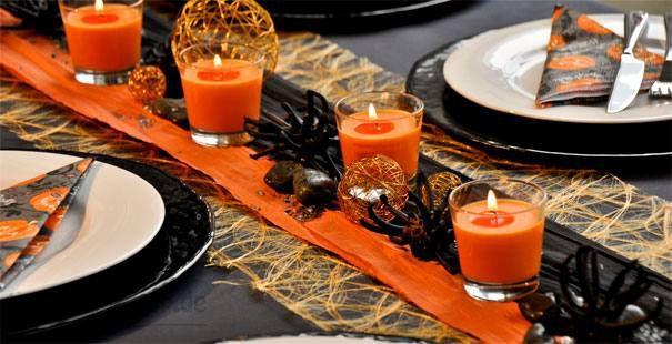 Tischdeko in Schwarz und Orange zu Halloween - Halloweentischdeko
