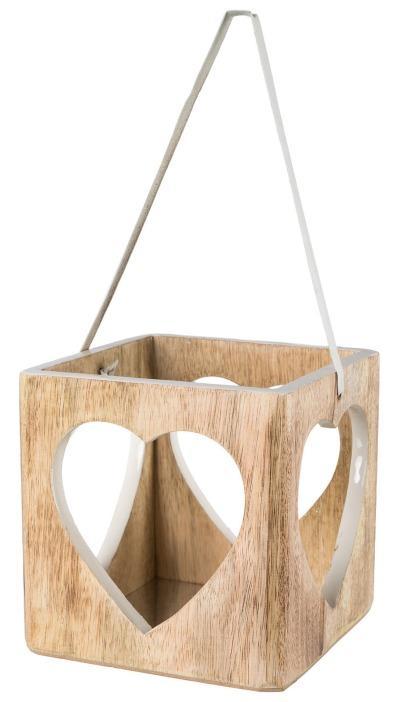 Holz Laterne Herz mit Lederhenkel 11x10x10cm, Weiß