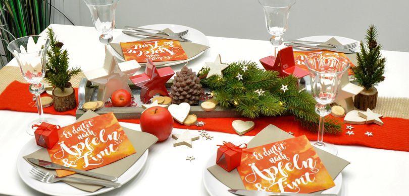 """Tischdekoration """"Es duftet nach Äpfeln"""" zu Weihnachten"""