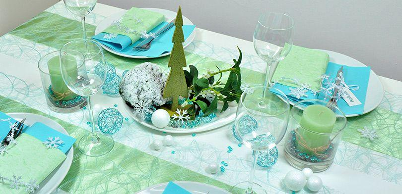 Winterliche Tischdekoration in Mintgrün und Weiß - Deko für den weihnachtlichen Tisch