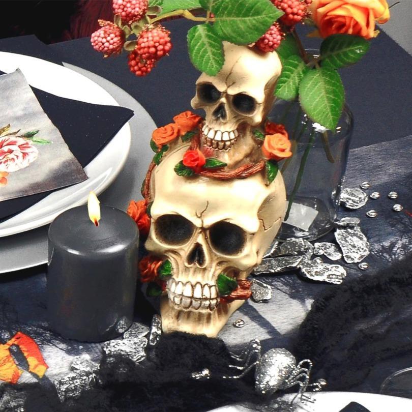 Totenköpfe mit Rose H 17cm - Halloweentischdeko