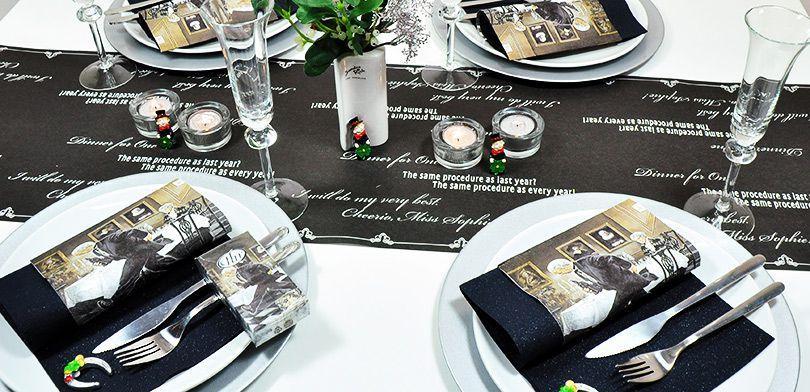 Kultige Tischdekoration für Silvester mit Butler James und Dinner for One