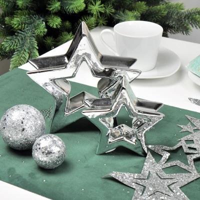 Deko-Band Sterne Silber Vlies mit Glitter 13 x 100 cm