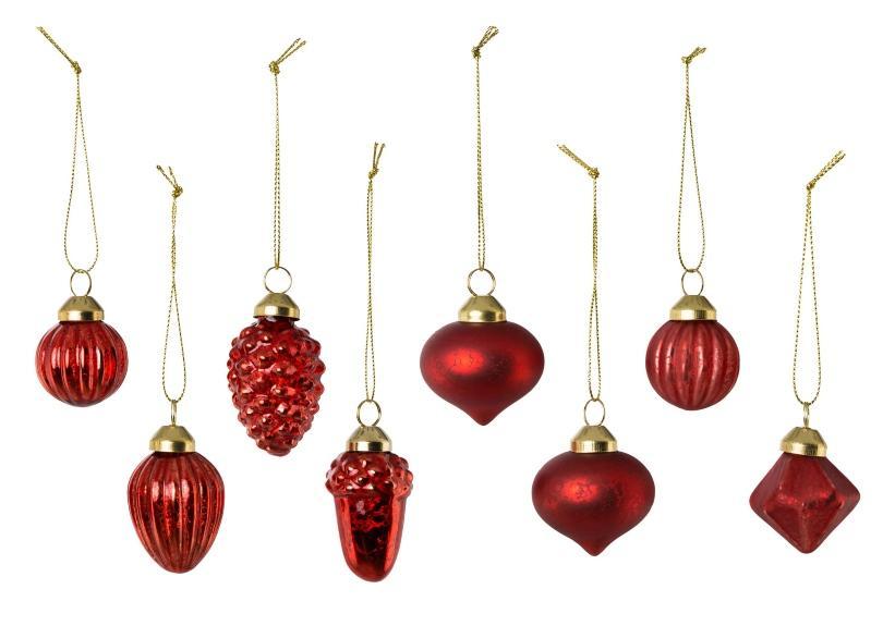 Weihnachtsdeko Glas-Kugel-Sortiment Rot 8-teilig 3-4 cm - Geschenke zu Weihnachten