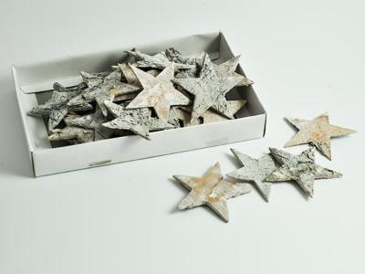Sterne Streu Birke geweißt Ø4.5cm ca. 100 Stück