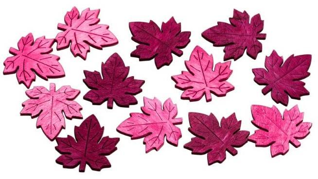 Streudeko Blätter in Beerentönen 2cm Holz 24 Stück