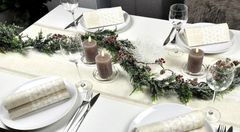 Winterliche Tischdekoration Linen Snow - Stimmungsvolle Wintertischdeko