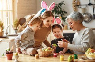 Das Osterfest mit Kindern und Großmutter