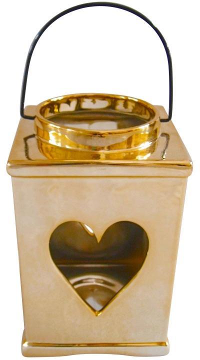 Laterne Windlicht Herzmotiv Gold Keramik 18.5cm