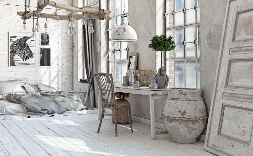 Wohn/Schlafzimmer im Shabby Chic - Landhausdeko für den Tisch und das Schlafzimmer