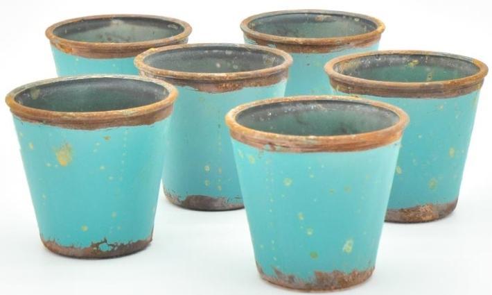 Vintage Glas konisch Türkis H8 D 9 6er Set - Landhausdeko für den Tisch