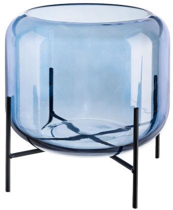 Glas Objekt auf Metallfuß 22x22x18cm Blau