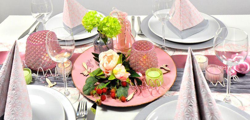 Tischdekoration in Rosa und Grau im Vintage - Tischdeko zu Pfingsten
