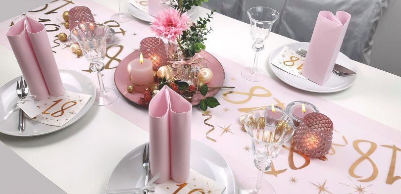 Wunderschöne Tischdekoration zum 18. Geburtstag in Hellrosa - Geburtstag mit Familie feiern