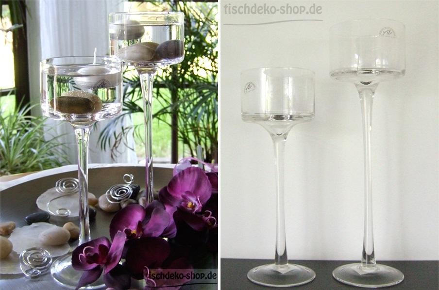 Glas-Kerzenleuchter in Pokalform Ø 9cm
