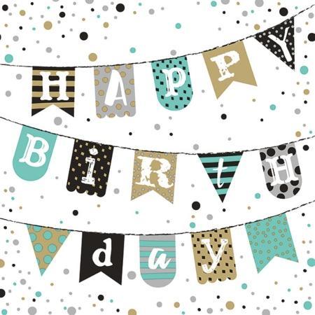 Serviette Happy Birthday Garland green 33x33cm 20er Pack