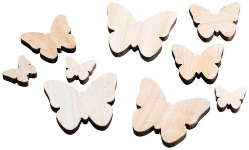 Streudeko Schmetterling Holz Natur 3-7cm