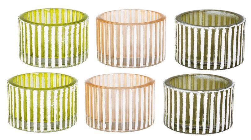 Teelichthalter Glas Schliff Grün Olivgrün Apricot 6erSet