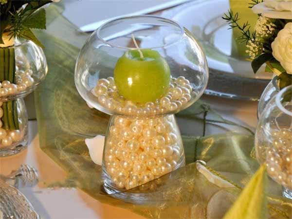 Vase Windlicht Glas Pilzform D13,5cm H18cm 4er Set - Kerzenarrangement