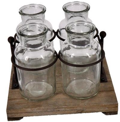 4 Flaschenvasen auf Tablett mit Metallhalterung 19 x17cm