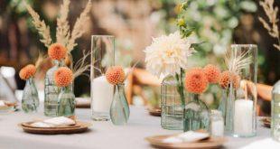 Sommertischdeko mit Trockenblumen