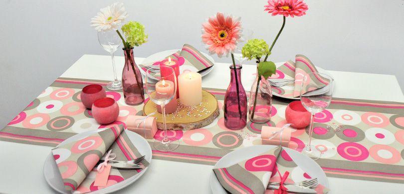 Tischdekoration Crazy Dots Pink - Sommertischdeko