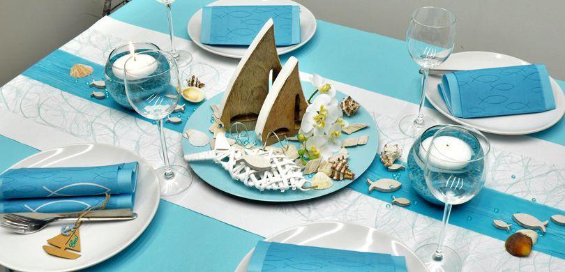 Maritime Tischdekoration in Mintblue mit Schiffen - Sommertischdeko
