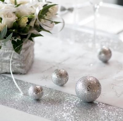 Deko-Kugeln Silber Glitter 35-55 mm 10er Set