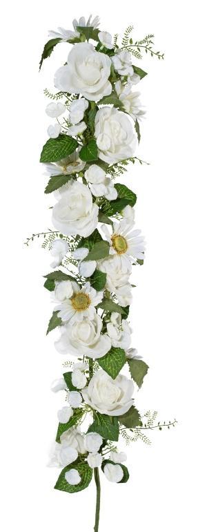 Rosen-Margeritengirlande Weiß 62cm