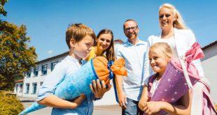 Famile und Schulkinder - Einschulung feiern