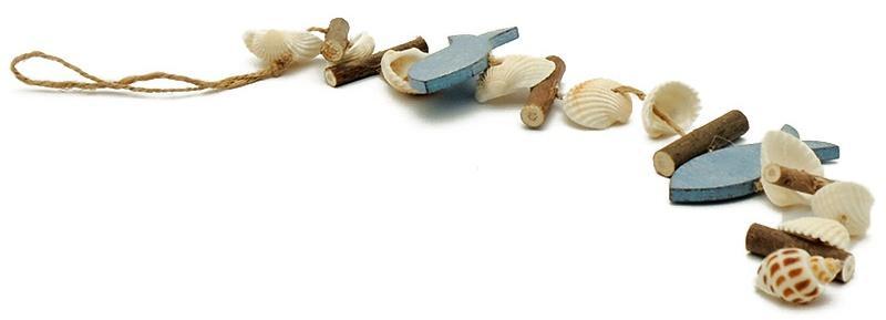 Girlande Fisch Muscheln Holz ca. 45cm