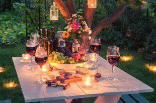 Gartentisch - Dekolichter am Tisch