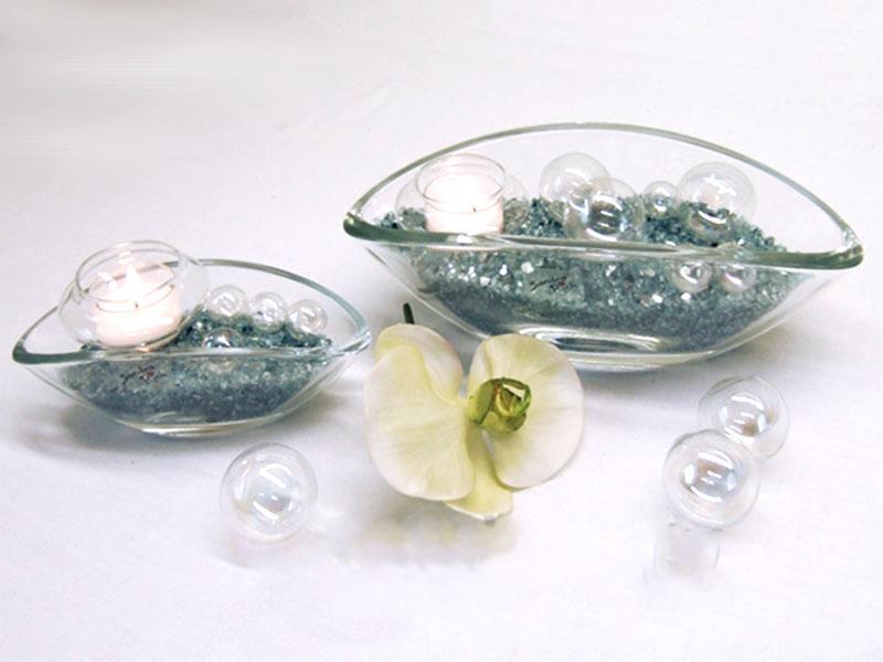 Glas-Schiffchen als Schale, Vase, Windlicht - Dekolichter