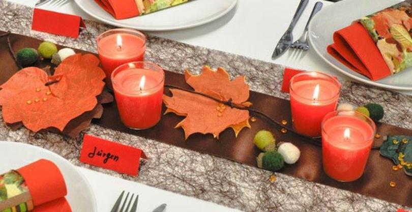 """Tischdekoration """"Herbstlaub"""" - Herbstdinner veranstalten"""