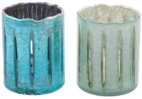 Windlichter 2er Set Glas Grün / Türkis 11 x 11 x 13cm