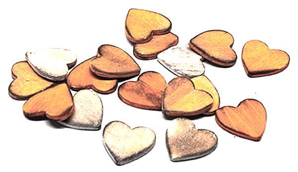 Herz Holz Vintage Streu Orange sort. 4 cm